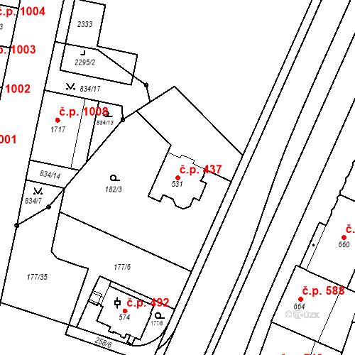 Katastrální mapa Stavební objekt Hradec Králové 437, Hradec Králové