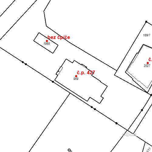 Katastrální mapa Stavební objekt Hradec Králové 427, Hradec Králové
