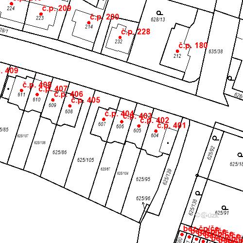 Katastrální mapa Stavební objekt Předměřice nad Labem 403, Předměřice nad Labem