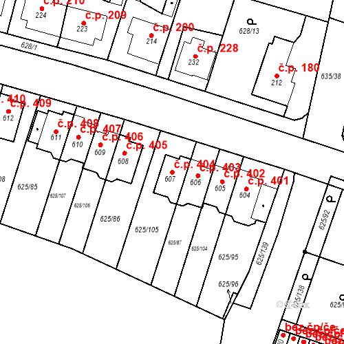 Katastrální mapa Stavební objekt Předměřice nad Labem 404, Předměřice nad Labem