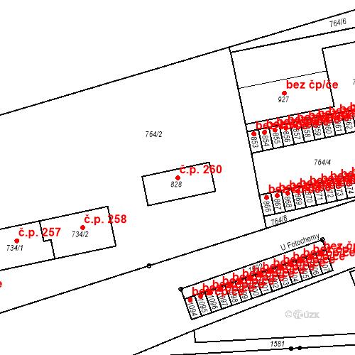 Katastrální mapa Stavební objekt Plácky 260, Hradec Králové