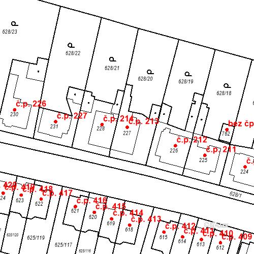 Katastrální mapa Stavební objekt Předměřice nad Labem 213, Předměřice nad Labem