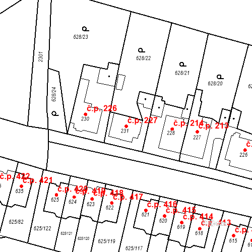 Katastrální mapa Stavební objekt Předměřice nad Labem 227, Předměřice nad Labem
