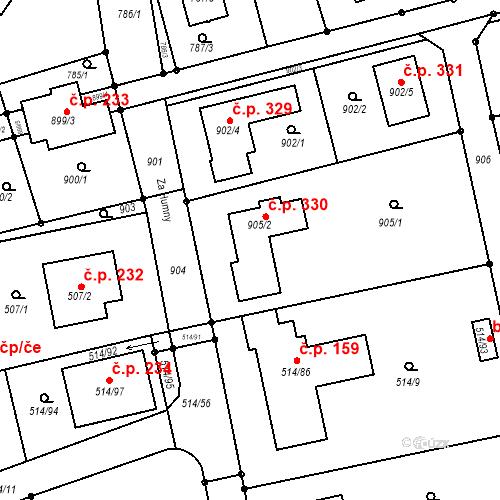 Katastrální mapa Stavební objekt Nový Šaldorf 330, Nový Šaldorf-Sedlešovice