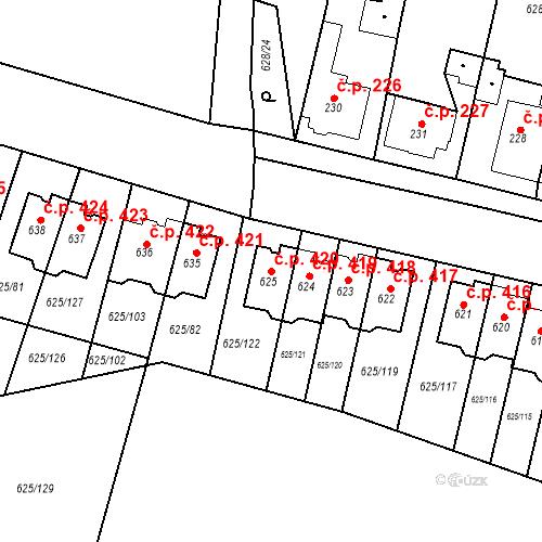 Katastrální mapa Stavební objekt Předměřice nad Labem 420, Předměřice nad Labem