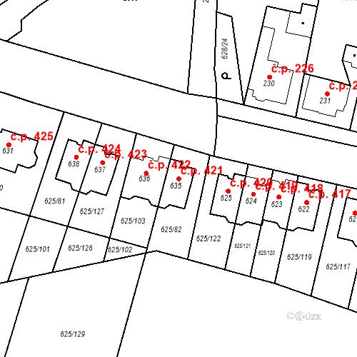 Katastrální mapa Stavební objekt Předměřice nad Labem 421, Předměřice nad Labem