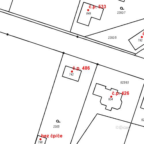 Katastrální mapa Stavební objekt Předměřice nad Labem 486, Předměřice nad Labem