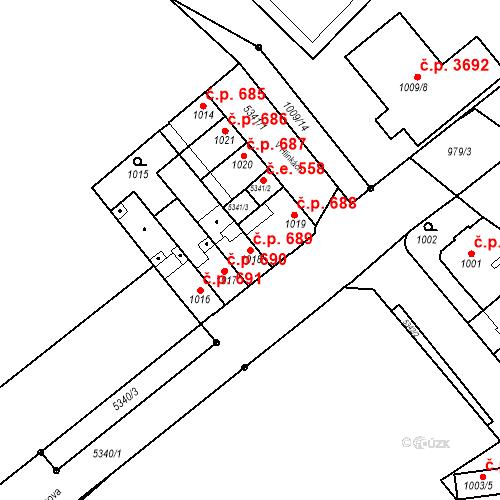 Katastrální mapa Stavební objekt Znojmo 689, Znojmo