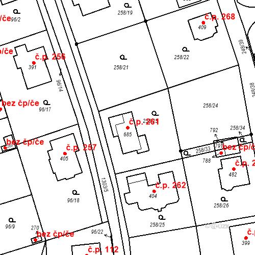 Katastrální mapa Stavební objekt Vysoká nad Labem 261, Vysoká nad Labem