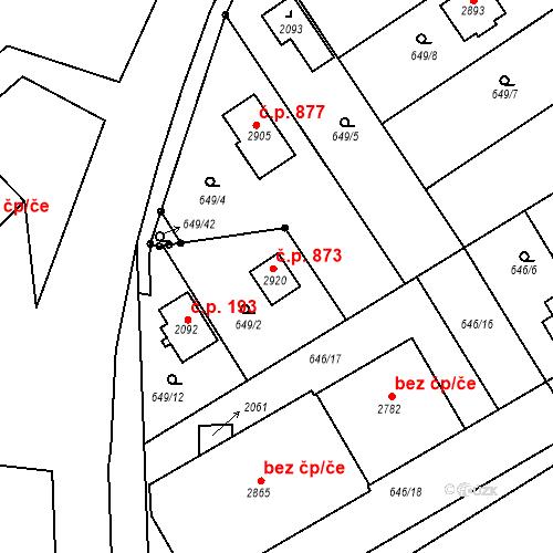 Katastrální mapa Stavební objekt Kukleny 873, Hradec Králové