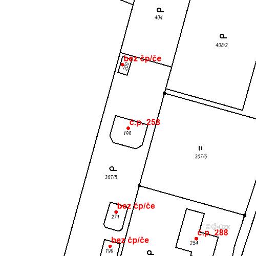 Katastrální mapa Stavební objekt Dolní Nemojov 258, Nemojov