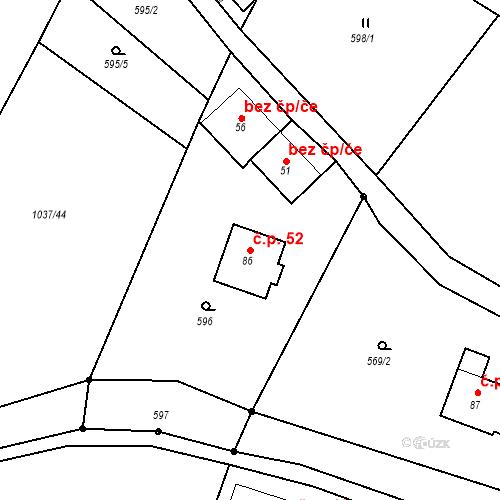 Katastrální mapa Stavební objekt Zadní Zhořec 52, Zadní Zhořec