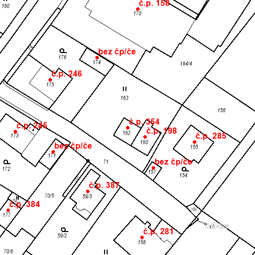 Katastrální mapa Stavební objekt Nové Veselí 354, Nové Veselí