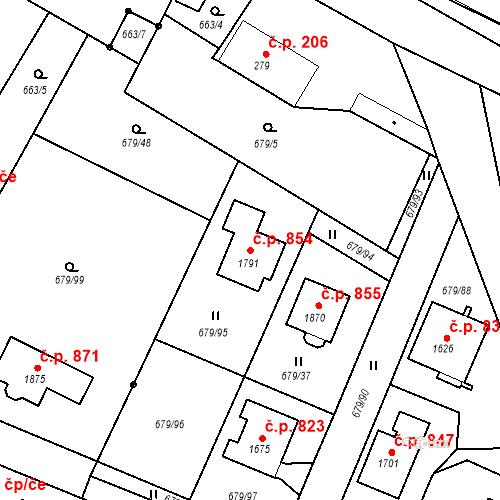 Katastrální mapa Stavební objekt Hostinné 854, Hostinné