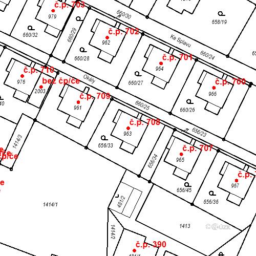 Katastrální mapa Stavební objekt Hostinné 708, Hostinné