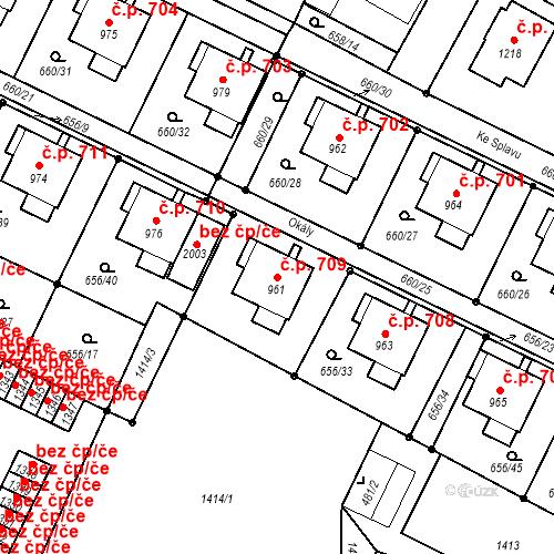 Katastrální mapa Stavební objekt Hostinné 709, Hostinné