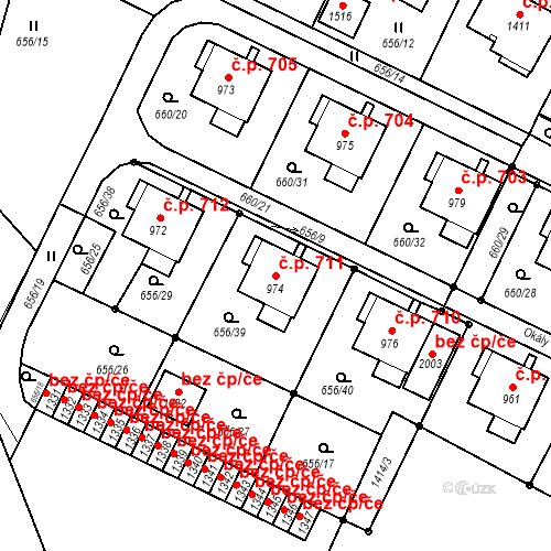 Katastrální mapa Stavební objekt Hostinné 711, Hostinné