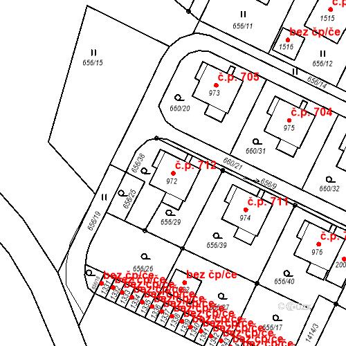 Katastrální mapa Stavební objekt Hostinné 712, Hostinné