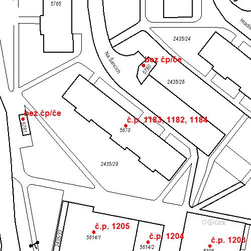 Katastrální mapa Stavební objekt Chrudim IV 1182, 1183, 1184, Chrudim