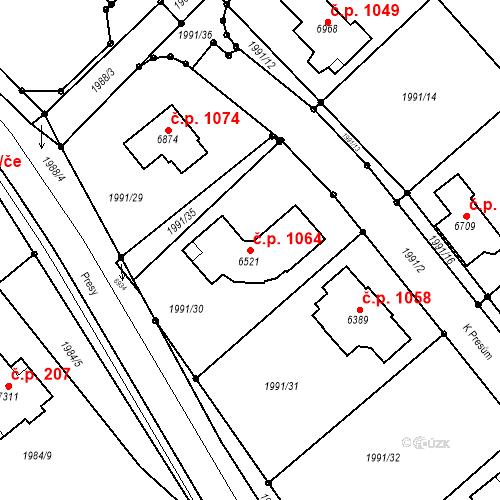Katastrální mapa Stavební objekt Chrudim II 1064, Chrudim
