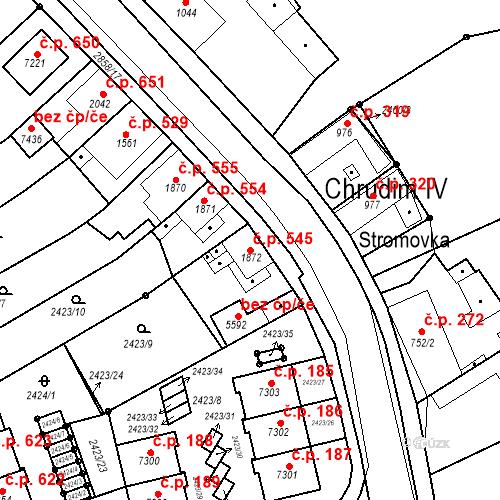 Katastrální mapa Stavební objekt Chrudim IV 545, Chrudim