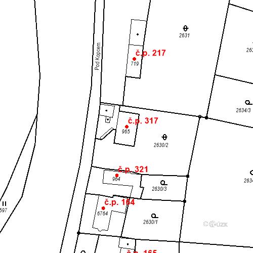 Katastrální mapa Stavební objekt Chrudim IV 317, Chrudim