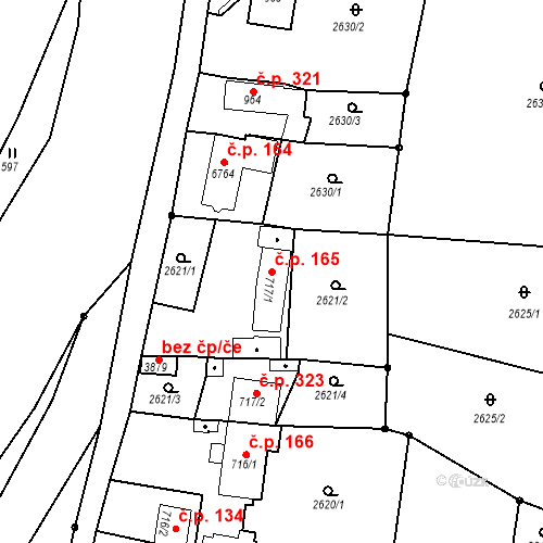 Katastrální mapa Stavební objekt Chrudim IV 165, Chrudim