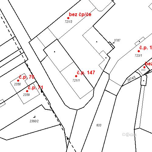 Katastrální mapa Stavební objekt Chrudim IV 147, Chrudim
