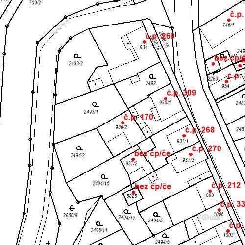 Katastrální mapa Stavební objekt Chrudim IV 170, Chrudim