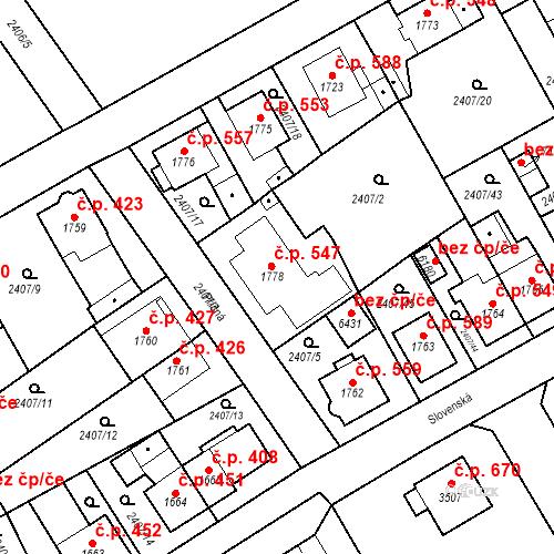 Katastrální mapa Stavební objekt Chrudim IV 546, Chrudim