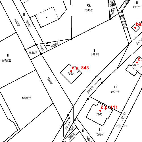 Katastrální mapa Stavební objekt Chrudim III 843, Chrudim