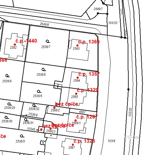 Katastrální mapa Stavební objekt Zelené Předměstí 1357, Pardubice