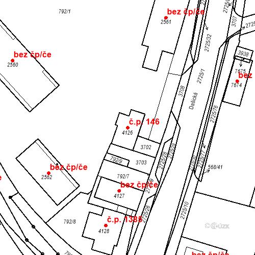 Katastrální mapa Stavební objekt Chrudim IV 146, Chrudim