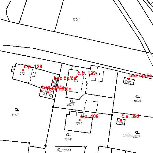 Katastrální mapa Stavební objekt Chrudim IV 129, Chrudim