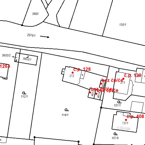 Katastrální mapa Stavební objekt Chrudim IV 128, Chrudim