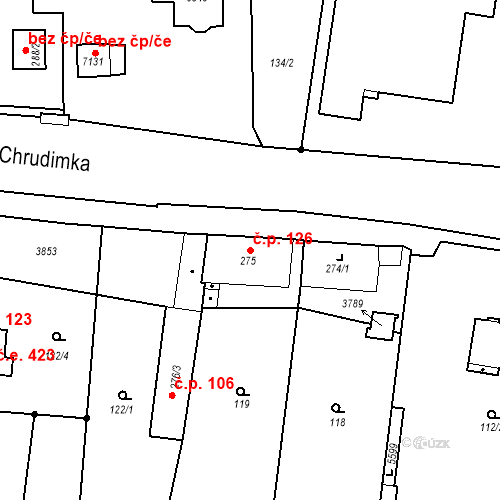 Katastrální mapa Stavební objekt Chrudim IV 126, Chrudim
