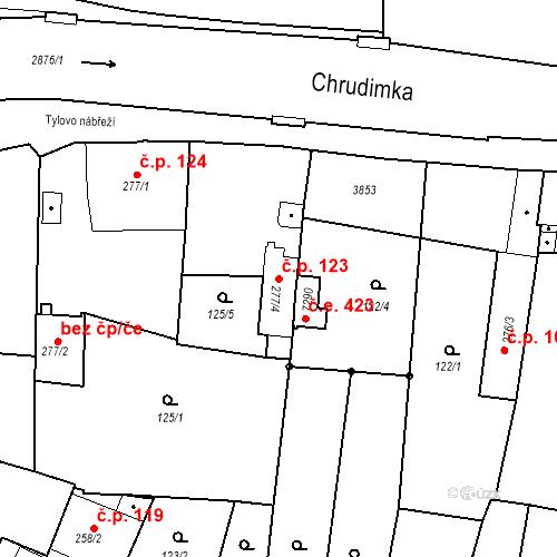 Katastrální mapa Stavební objekt Chrudim IV 123, Chrudim