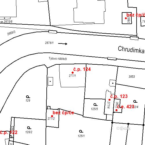 Katastrální mapa Stavební objekt Chrudim IV 124, Chrudim
