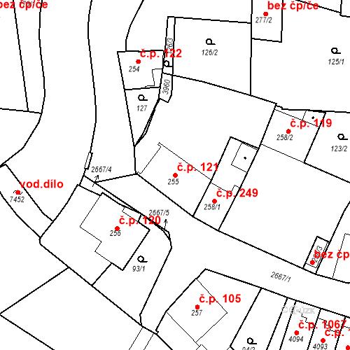 Katastrální mapa Stavební objekt Chrudim IV 121, Chrudim