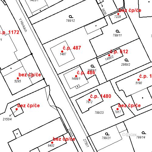 Katastrální mapa Stavební objekt Chrudim IV 486, Chrudim