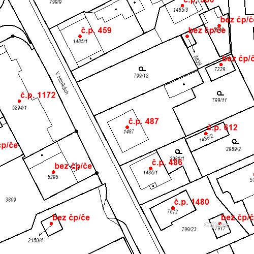 Katastrální mapa Stavební objekt Chrudim IV 487, Chrudim