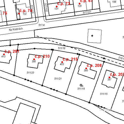 Katastrální mapa Stavební objekt Staré Hradiště 215, Staré Hradiště