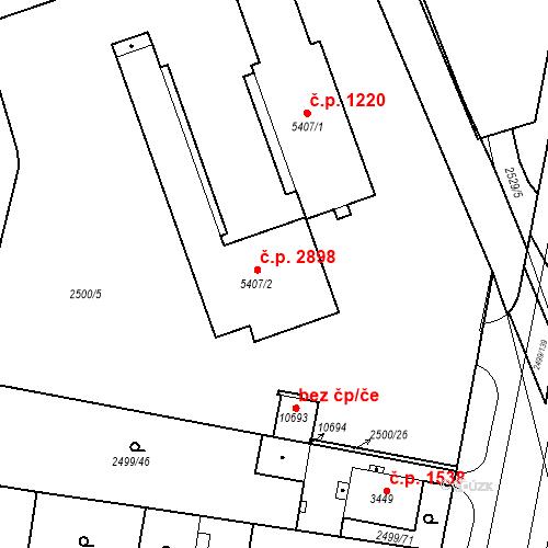 Katastrální mapa Stavební objekt Zelené Předměstí 1220, Pardubice