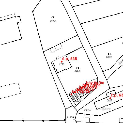 Katastrální mapa Stavební objekt Chrudim IV 536, Chrudim