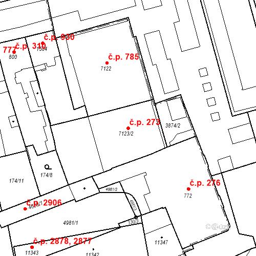 Katastrální mapa Stavební objekt Zelené Předměstí 273, Pardubice