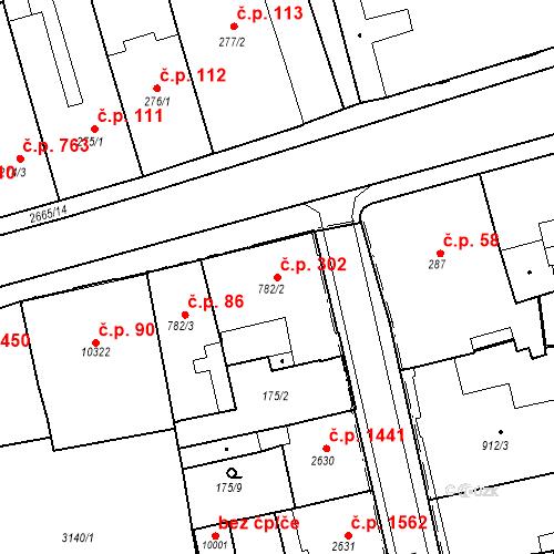 Katastrální mapa Stavební objekt Zelené Předměstí 302, Pardubice