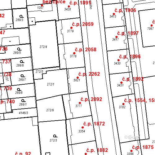 Katastrální mapa Stavební objekt Zelené Předměstí 2262, Pardubice