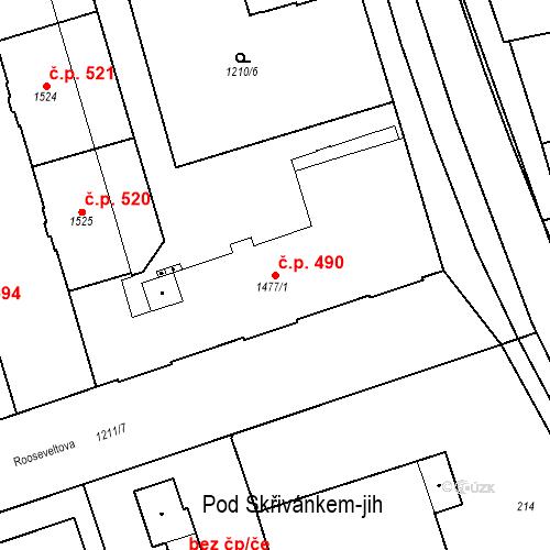 Katastrální mapa Stavební objekt Chrudim IV 490, Chrudim
