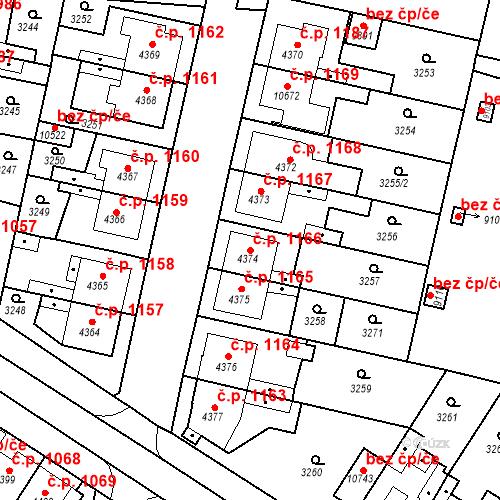 Katastrální mapa Stavební objekt Zelené Předměstí 1166, Pardubice