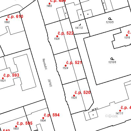 Katastrální mapa Stavební objekt Chrudim IV 521, Chrudim